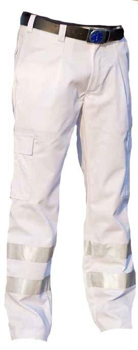 EHBO pantalon met striping. Kleur wit