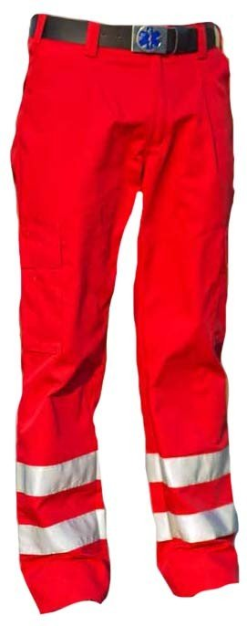 EHBO pantalon met striping. Kleur Rood