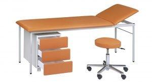 Onderzoektafel met ladeblok en tabouret model BUD-6265