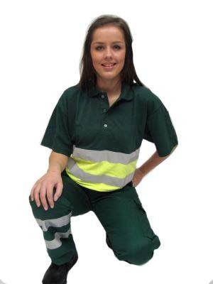 Werkpoloshirt met striping kleur groen