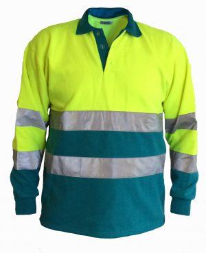 Ambulance polosweater geel/ enamel blue /striping. Zonder Ruglogo OP = OP