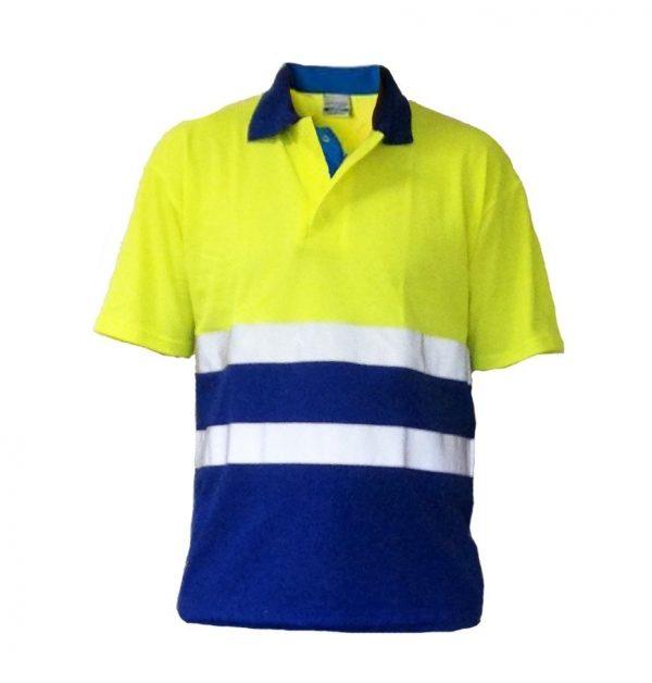 EHBO poloshirt KM geel/blauw + striping zonder logo maat L
