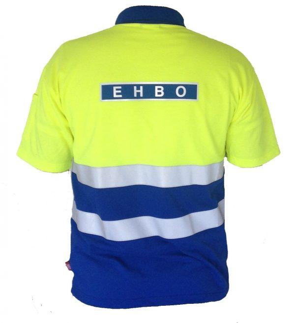 EHBO poloshirt KM geel/blauw + striping met ruglogo maat M