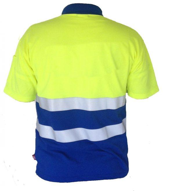 EHBO poloshirt KM geel/blauw + striping zonder logo maat 3XL