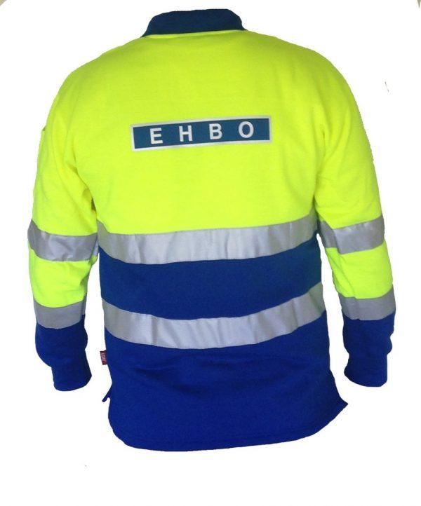 EHBO polosweater met striping en EHBO ruglogo Maat L