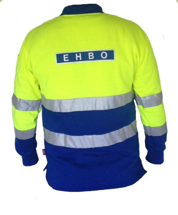 EHBO polosweater met striping en EHBO ruglogo Maat 3XL