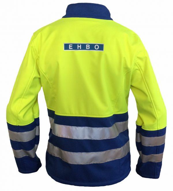 EHBO softshell Jack + ruglogo & striping Geel / Blauw Mt XL
