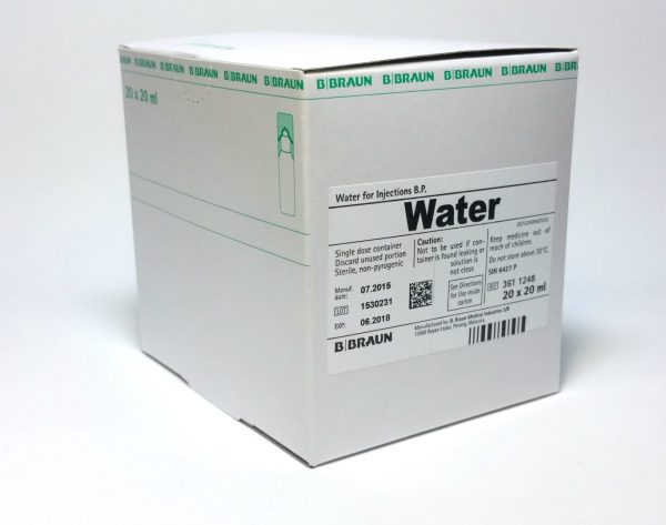 Water voor injectie 20ml, Miniplasco, Ds 20 ampullen