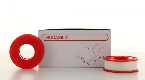 Fixatiepleister RUDASILK 9.14m x 1.25cm op spoel Ds 10 rol