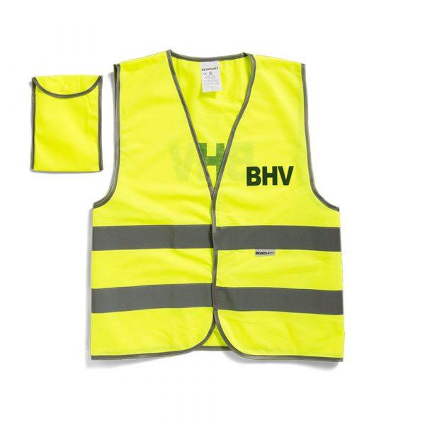 Veiligheidsvest oranje of geel met opdruk BHV in tasje